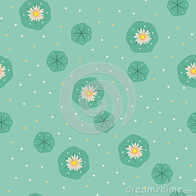 Peyote lophophora cactus seamless pattern