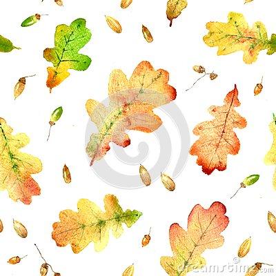 watercolor oak leaves pattern
