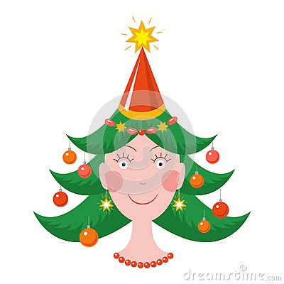 happy new year girl christmas tree